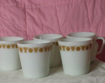 Vintage Butterfly Gold Pyrex/Corning Mugs