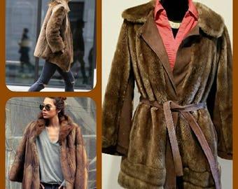 Sale Vintage 70s/80s Lilli Ann faux fur suede jacket with belt by Adolph Schuman for Lillie Ann England boho chic haute hippie elegant