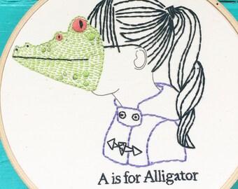 Embroidery Kit, Hand Embroidery Kit, DIY Embroidery Kit, A is for Alligator Embroidery Kit