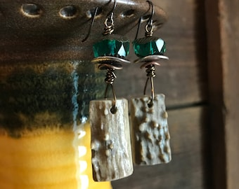 Deer Antler Shed and Czech Cut Glass Earrings