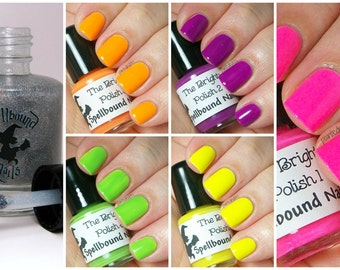 FULL SIZE The Brights with free holographic topper - custom handcrafted neon colored creme nail polish collection
