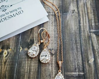 Rose Gold Bridesmaid Jewelry Set, Simple Bridal Jewelry Set, Rose Gold Bridesmaid Earrings Crystal, Bridesmaid Jewelry Crystal Bridesmaid