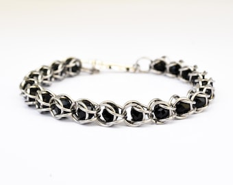 Womens Captured Black Bead Chanmaille bracelet Stainless steel black crystal beaded bracelet gift for mom sister