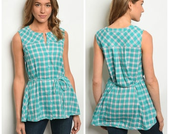 Adorable Sleeveless Button Down Blouse With String Belt • So Much Summer Fun!