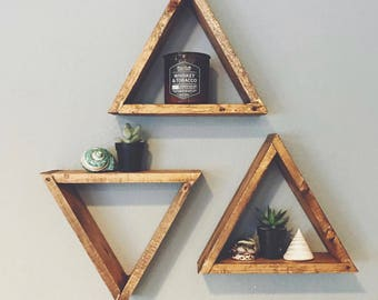 Set Of 3 Wood Triangle Shelf, Geometric Wall Shelf, Boho Wall Decor, Gray Triangle Shelf, Crystal Display, Succulent Wall Shelf G