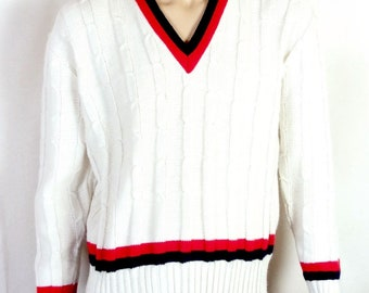 vtg 60s McGregor MINTY Red/White/Blue Cable Knit V-Neck Tennis Sweater sz XL