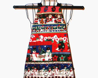 Child's Apron Christmas Ages 3 thru 8 Reversible Adjustable