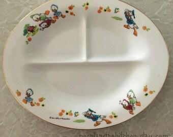 Vintage Disney Donald Duck Huey Dewey and Louie Childrens Divided Plate Sango Japan