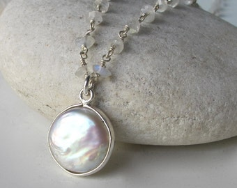 Bridal Pearl Necklace Beaded Moonstone Freshwater Pearl June Birthstone Necklace