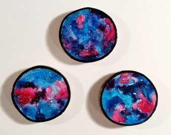 Galaxy Trio 006 - Watercolour Paintings on a Woodslices - Set of Three