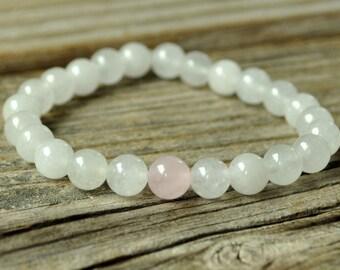Heart Chakra Mala, Rose Quartz Bracelet, White Jade Bracelet, Crystal Healing, Yoga Bracelet, Meditation Bracelet, Stretch Mala Bracelet