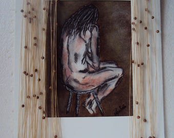 Nude charcoal, ink, wax, passe-partout