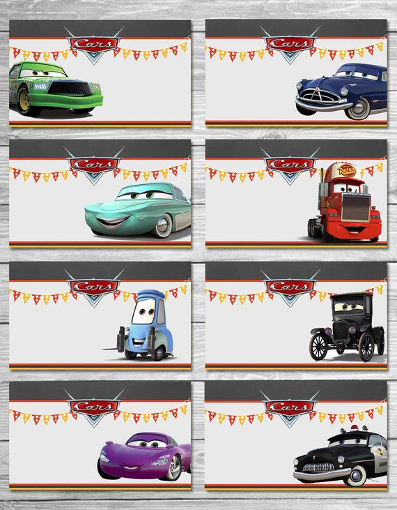 Disney Cars Food Tents Chalkboard Set 2 Cars Food Labels