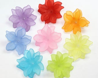 Lucite Flower Beads Mix, 29x27mm, Daffodil Beads, Lucite Beads, Assorted Flower Beads, Acrylic Beads, Big Plastic Beads, Frosted Beads