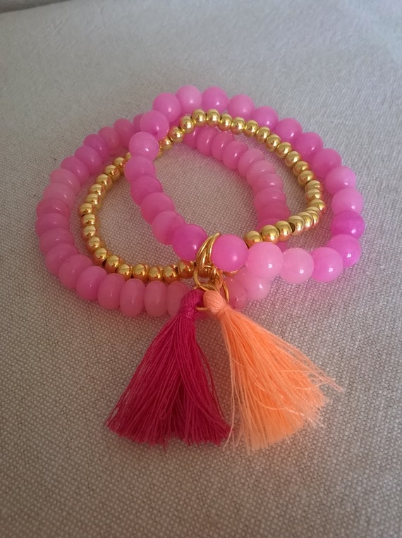 S - 380 Pink quartz stretchy bracelet with tassles
