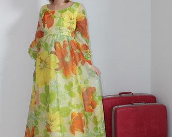 1960s Vintage Maxi dress - Stunning Floral Maxi dress gown