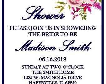 Bridal Shower Invitation - Light Pink and Magenta Flowers PDF