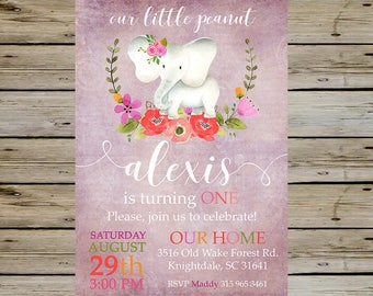 Baby Girl Elephant BIRTHDAY Invitation, Purple Birthday Invitation, Customized Invite, Digital Image High Resolution, Watercolor Elephant