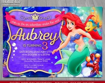 Little Mermaid Invitation - Disney Princess Ariel Invite - Little Mermaid Purple Printed Birthday Party Invitation (LMIN09)