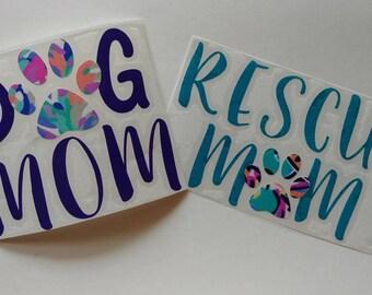 Dog mom/rescue mom/fur mom/cat lady decals/ Fur Mama / Dog Mom AF