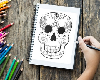 Printable coloring page, Day of the Dead Skull