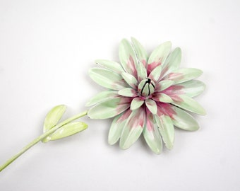 1970s Large Pale Green and Pink Flower Brooch Pin