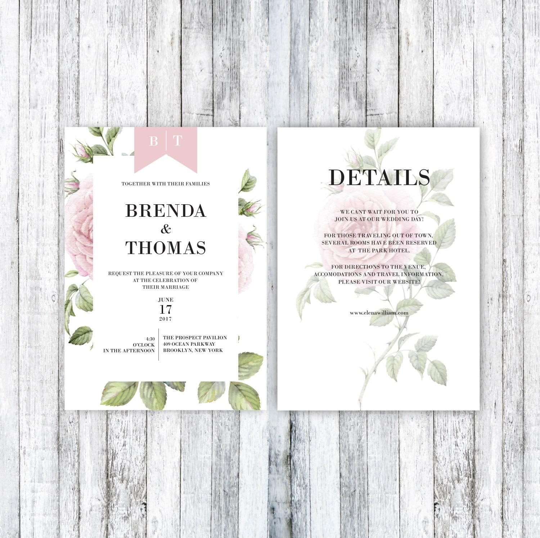 Druckbare Hochzeitseinladung Hochzeitseinladung Vorlage