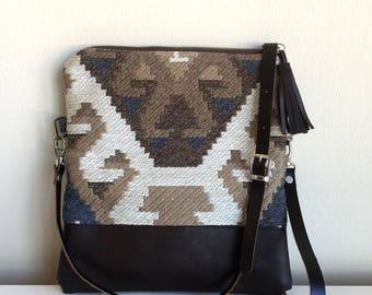 Leather Carpet Clutch,Turkish Kilim Bag,Leather Clutch Bag,Boho Cross Body Bag,Kilim Clutch,Fold over clutch bag,messenger bag, gift for her