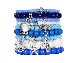 Beaded Bracelets Set of 9 Stretch Bracelets Bohemian Beach Themed Stack with Silver Tone Charms