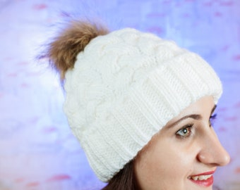 Hat with pom pom - Hand knitten hat - a cap of manual binding - winter hat - white hat - hat for women- hat with pom pom for girl