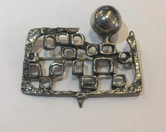 Brutalist Modernist Sterling Silver Abstract Mid Century Brooch Pin