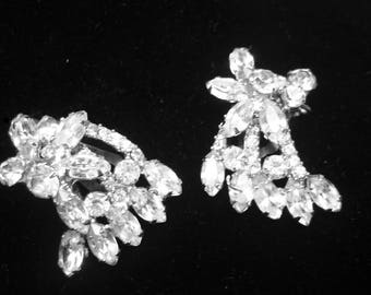 Vintage Prong Set Navette Rhinestone Earrings Clip on