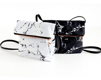 MARBLE bag //  white black marble with rose gold / copper zipper fold over handbag marble bag by renna deluxe