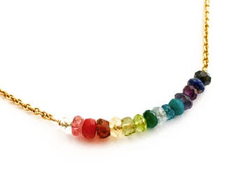 Rainbow Necklace. Rainbow Gemstones Necklace with Gold Chain. 14k Gold Filled Colorful Genuine Multi Gemstones Necklace.