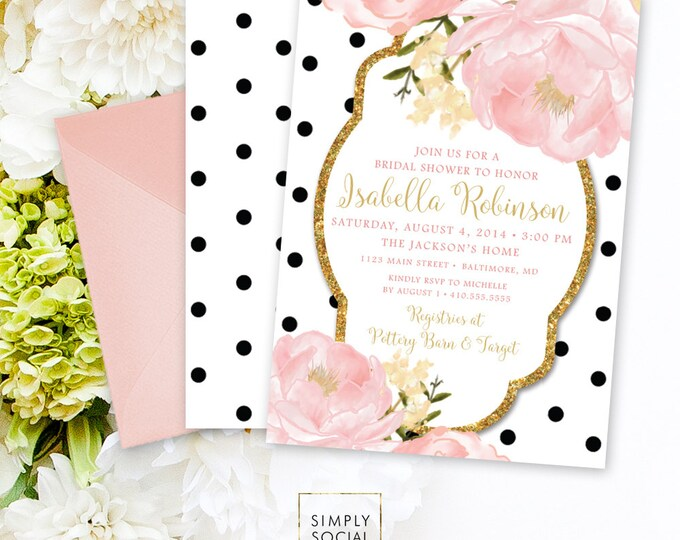 Peony Flowers Bridal Shower Invitation - Blush Pink and Gold Glitter Black and White Polka Dots Romantic Garden Double Sided Printable