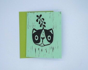 "Handmade Greeting Card-- ""Sprout""-- BLANK Mint Green"