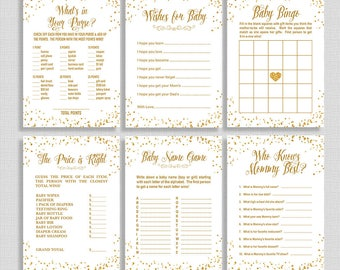 Gold Baby Shower Games Package, Six Baby Shower Games Bundle, White and Gold Glitter Confetti, Neutral, INSTANT PRINTABLE