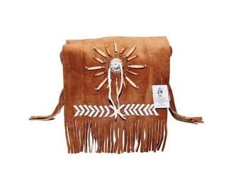 Traditional Brown Suede Leather Bag Purse Shoulder Cross Body with Fringe Bone and Beads