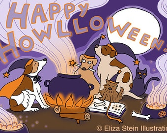 Funny Halloween Card, Happy Halloween Greeting Card, Cute Halloween Card  For Kids, Children, Witches, Dogs
