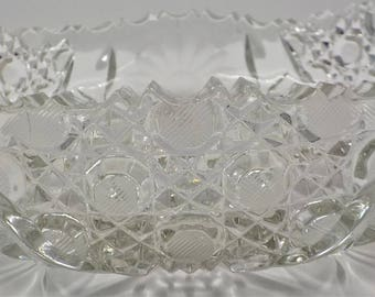 ELEGANT and CHIC - Large Pressed Glass - Crystal Bowl - Round - Serving Dish - Ornate
