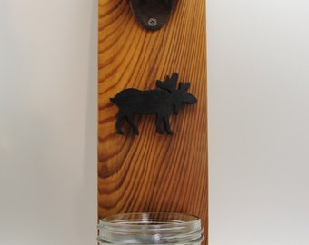 wall mount bottle opener beer moose silhouette stain cast iron