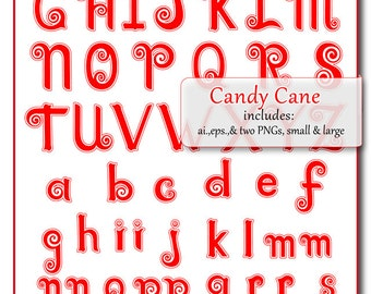 Instant Download:  Swirl Candy Cane Vector Alphabet . AI., EPS & PNG files, fully editable,digital download.