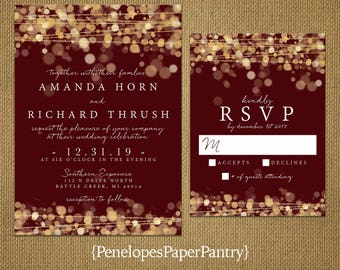 Romantic Burgundy and Gold Wedding Invitation,Glowing Lights,Gold Bokeh,Gold Confetti,Shimmery,Printed Invitation,Wedding Set,Envelope