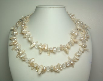 Fall Special - Pearl Necklace -  42 inches 7-8mm White Freshwater Pearl Necklace - Free necklace shortener