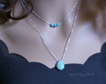 Sterling Silver Layered Natural Turquoise Necklace, 925 Silver Box Chain Genuine Teardrop Turquoise Multi Strand Necklace, Bohemian Stone