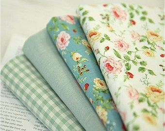 """Cotton Fabric - Flower White, Flower Mint Green, Solid or Plaid - 44"""" Wide - By the Yard 50795"""