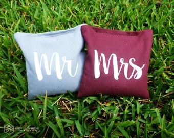 8 Mr & Mrs Classic Series Cornhole Bags - Corn Filled