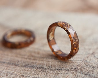 Terracotta Brown Resin Ring Stacking Ring Gold Flakes Small Faceted Ring OOAK