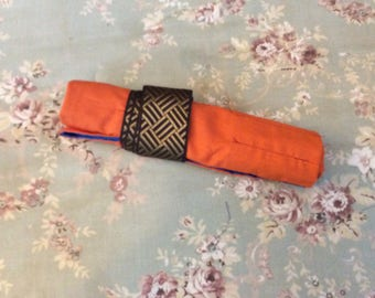 """Orange and Blue """"Tool Roll"""" Pencil Case"""