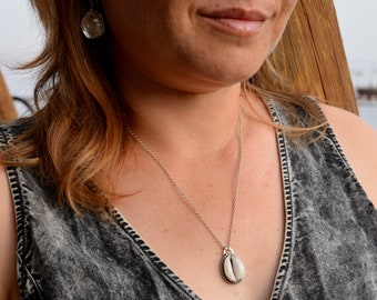 Sea Shell Necklace, Cypraea Shell, Cowrie Shell Pendant Necklace in Sterling Silver, Shell Jewelry, Handmade Necklace